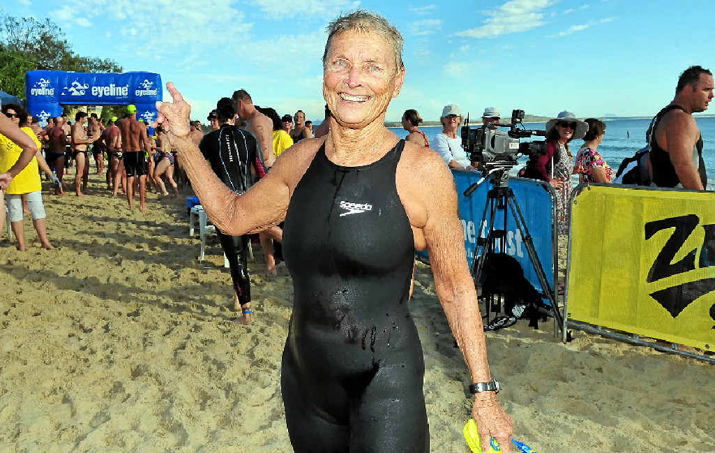 Champion Masters swimmer Jan Croft, of Noosa, completes her race.