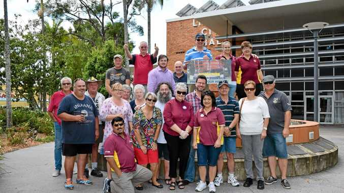 Lismore City Lions Club members at their memorial fountain outside the Lismore City Hall Photo Ross Kendall / Northern Star