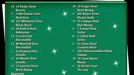 The list of streets that will be visited on the Christmas Lights Bus Tour