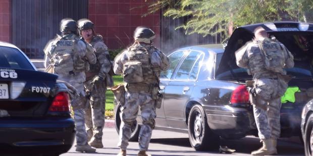 Police on the scene of the shooting in San Bernadino, California.