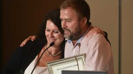 Gympie Times editor Shelley Strachan with former editor Craig Warhurst accept the award for the Newspaper of the Year at the 2015 Australian Regional Media Editorial Awards.Photo Adam Hourigan / The Daily Examiner