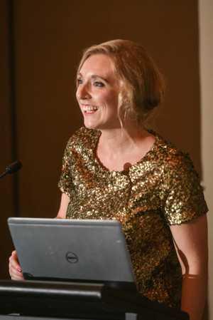 Sunshine Coast Daily editor Jenna Cairney receives the award for editor of the year at the 2015 Australian Regional Media Editorial Awards.Photo Adam Hourigan / The Daily Examiner
