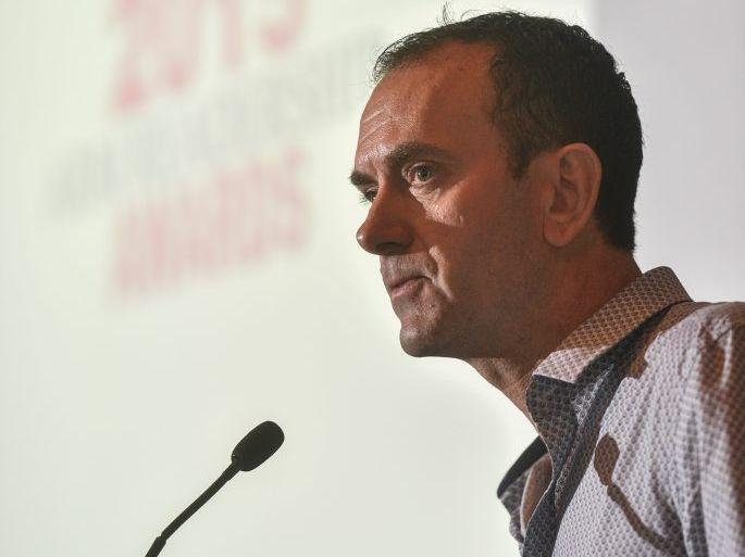 Editorial Director Bryce Johns speaks at the 2015 Australian Regional Media Editorial Awards.Photo Adam Hourigan / The Daily Examiner