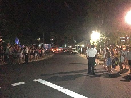 CROWD GATHERS: A small crowd waited down the road from the yacht club in the hope that Taylor Swift would appear. Photo Sharon Smallwood / Whitsunday Times