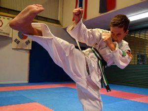 Roma boy Bodhi kicking out his anxiety through karate