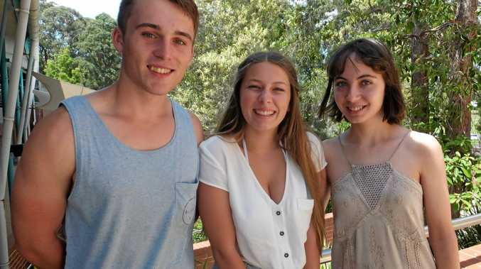 FUTURE LEADERS: Coffs Harbour Senior College students Brenton Knight, Kate Malcolm and Sarah Graham-Higgs have taken a shine to politics.
