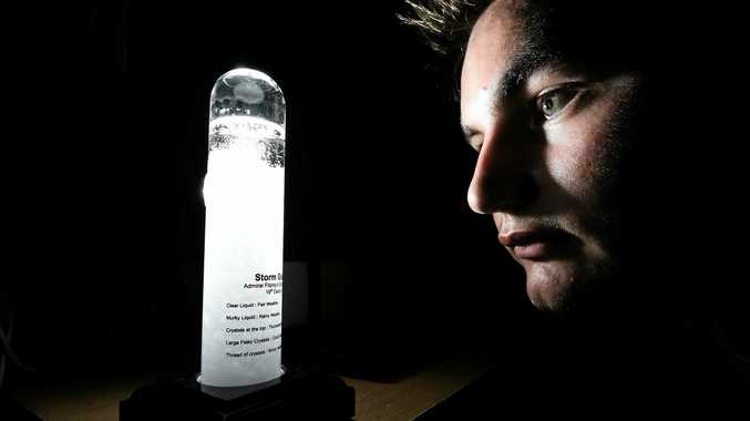 Antonio Paracin with his Admiral Fitzroy Storm Glass which was used in the 1700's by sailors.
