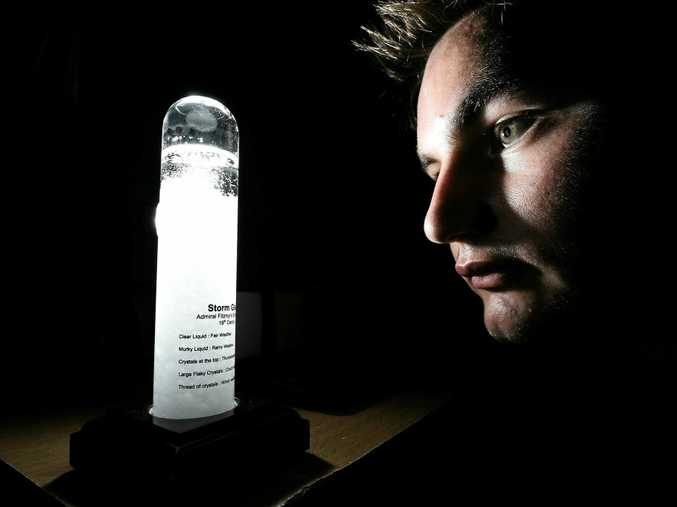 Antonio Paracin with his Admiral Fitzroy Storm Glass which was used in the 1800s by sailors.