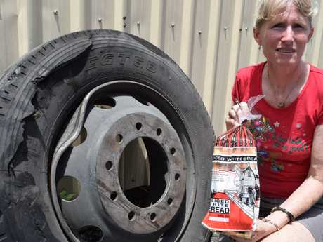 The Family Crust Bakery owner Janet Nielsen says their delivery driver was lucky to escape without any injuries from a van crash on the Bruce Hwy.