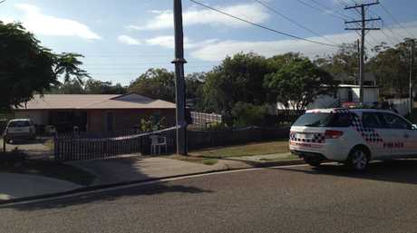The house where a man was stabbed to death this morning.