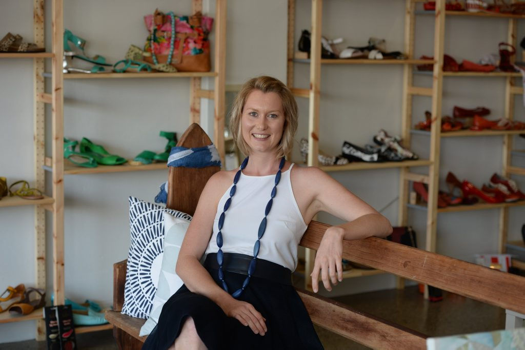 Manager of Fredericks, Katie Frederickson, a new shop on Victoria St (in the old Tick-Tock Jewellers building) which stocks shoes up to Size 15 and acessories and homewaes from designers and producers from the region.