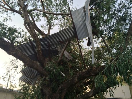 The Rockhampton Jocket Club lost parts of its roof from the members' lounge and racing stalls in the storm on Thursday afternoon.