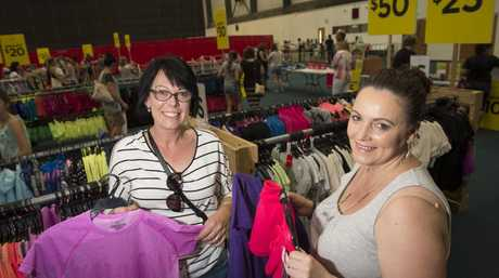 Robyn Eastwell (left) and Stella Martin at the Lorna Jane warehouse sale at USQ's Clive Berghofer Recreation Centre.