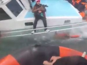 Watch: Newborn rescued from capsizing boat