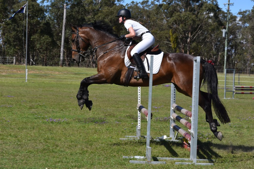 Aimee Sullivan from Goondiwindi on her horse Lewis at the Warwick Horse Trials.