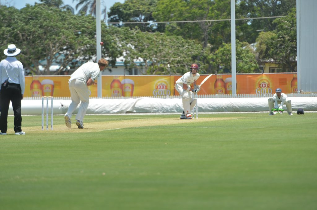 GOOD CONTEST: Queensland Bulls batsman Matthew Renshaw faces up to veteran quick Doug Bollinger in the Sheffield Shield game in Mackay. Photo Chris Lees / Daily Mercury