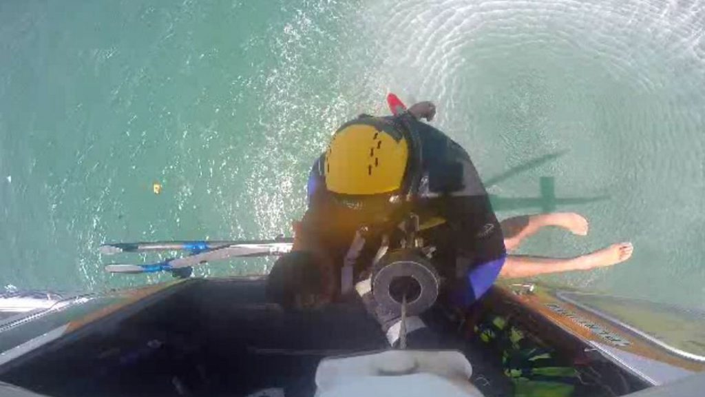 Two men were rescued by RACQ CQ Rescue after their boat sank at Mackay Harbour.