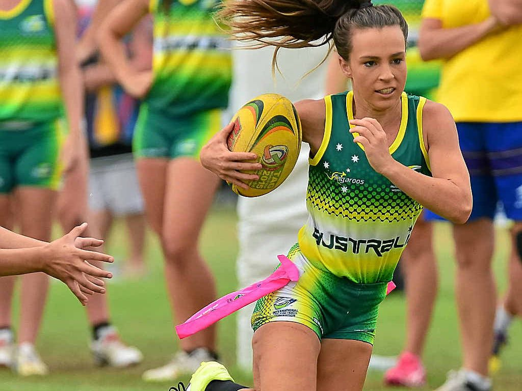 TOP STUFF: Australia's Montana Walters on the burst against Tonga at the Tag World Cup.