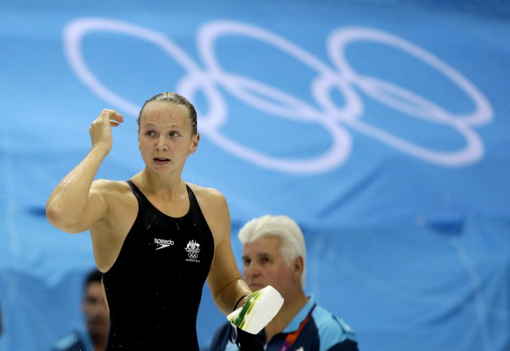 Melanie Schlanger (now Melanie Wright) pictured during the 2012 London Olympic Games, where she scored her second Olympic gold medal.