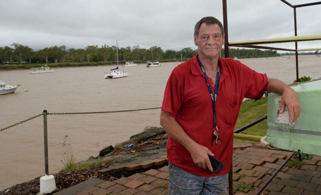 Jeff Wheatley, Fitzroy Motor Boat Club secretary is battening down the hatches ahead of Cyclone Marcia. Photo Allan Reinikka / The Morning Bulletin