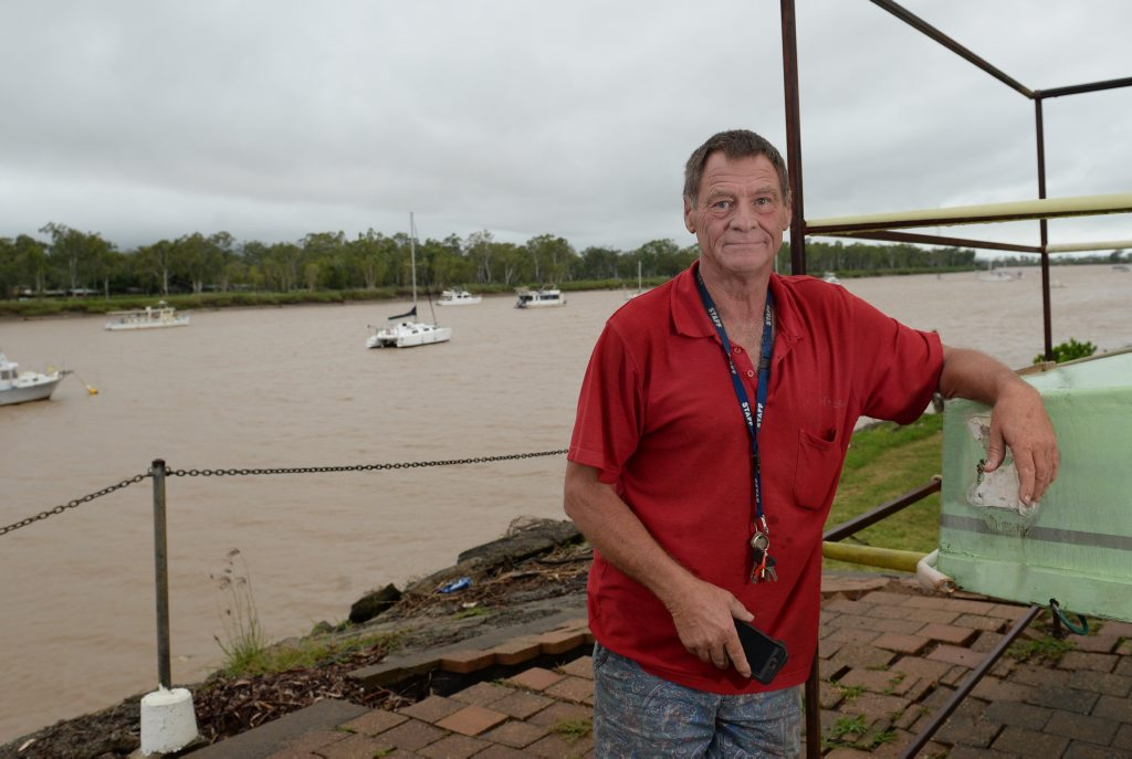 Jeff Wheatley, Fitzroy Motor Boat Club secretary is battening down the hatches ahead of Cyclone Marcia. Photo Allan Reinikka / The Morning Bulletin