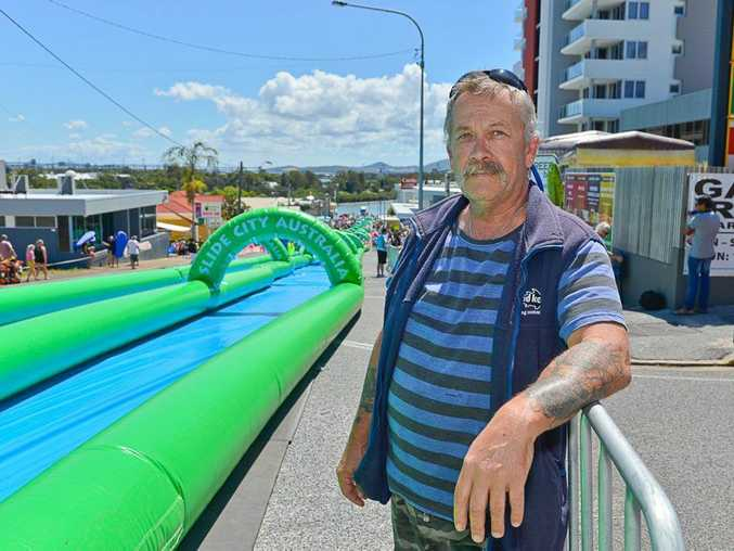 Wayne Martin was among hundreds of angry Gladstone parents who bought tickets to the morning session of O'Shea's Slide City Australia which had no water.