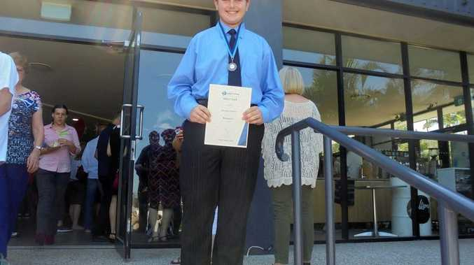 AWARD WINNER: Brandon Schulte outside Hillsong Auditorium in Mt Gravatt Brisbane after his awards ceremony Photo Contributed