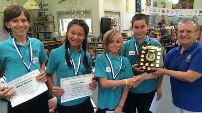 SUCCESS: The shield is awarded to the winning Mullaway Primary School team.