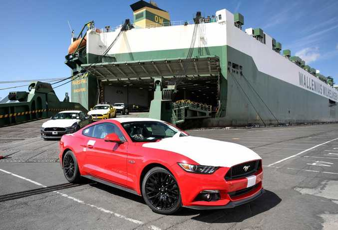 PONY EXPRESS: Freshly minted Mustangs roll off the ship at Melbourne, ready for eager muscle car shoppers who have bought the iconic Fords in droves