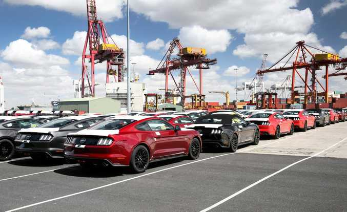 The first Australian-delivered Ford Mustangs arrive in Melbourne. Photo: Contributed.