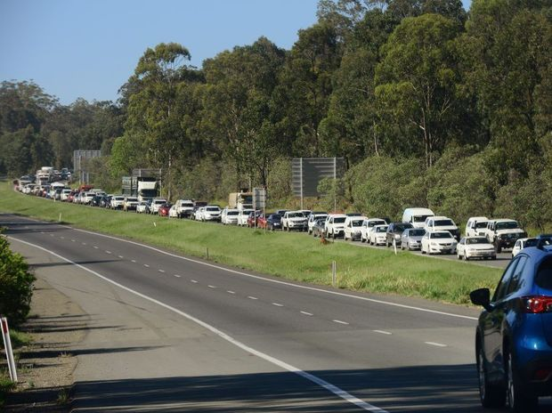 Traffic builds up on the Cunningham Highway following an accident on the Ipswich Motorway. Photo: David Nielsen / The Queensland Times