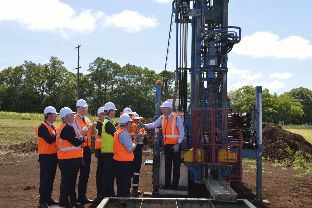Deputy Prime Minister Warren Truss after pressing the on button on the auger at the Toowoomba Second Range Crossing sod turning ceremony.