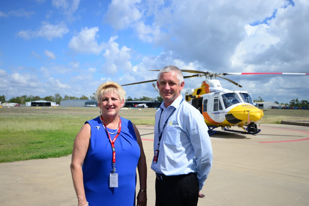 Capricornia MP Michelle Landry and Capricorn Helicopter Rescue CEO Mark Fewtrell announced $2.344M funding for the service Photo Trinette Stevens / Morning Bulletin