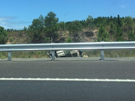 Traffic is congested on the Bruce Hwy at Bells Creek after a rollover just before noon.