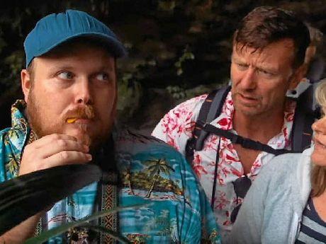 Hervey Bay's Josh Buckle eating a