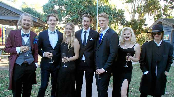 From Left to Right Eryn Thackray-Smith, Tannar Connors, Taylah Henderson, Rueben Higgins, Jesse Connors, Hayley Acton, Jayden Morrison. Cape Byron Rudolf Steiner School formal at the Beach Cafe. Photo Contributed