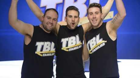 TBL Families winner Daniel Jofre, centre, with finalists  Pablo Jofre, left, and Tony Jofre.