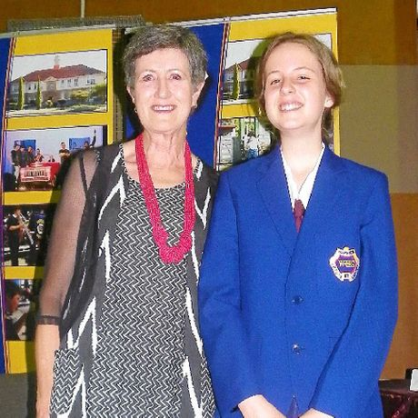 Sue Campbell and student of the year Erin Jarrett at the Warwick State High School awards night.
