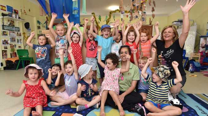 Village Kids Childrens Centre - director Alicia Moody (centre) with children. Nominated for an award. Photo: Alistair Brightman / Fraser Coast Chronicle