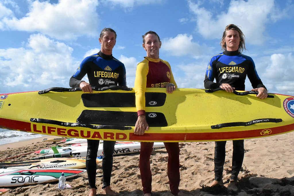 TOUGH WORK: Tarryn Hayden, Ken Moss and Callan Zahner taking part in their proficiency test at Harbour Beach.