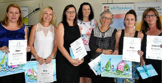 WONDERFUL WOMEN: Karen Vloedmans, Margie Murphy, Noelene Spurway, Denise Kreymborg, Christina della Valle, Leanne Fordham and Tanya Bandow at the Whitsunday Business Women's Awards last week.