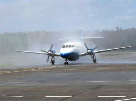 The first of new daily FlyPelican flights from Newcastle to Ballina landed at the Ballina Byron Gateway Airport on Tuesday.