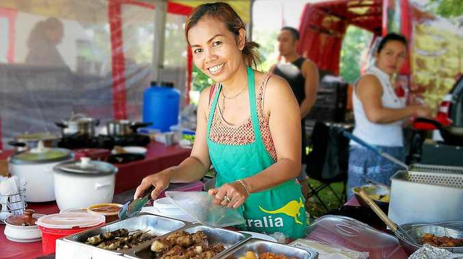 Rini Martinings serves traditional Indonesian street food at the Mullumbimby Farmers Market. Photo: Kate O'Neill