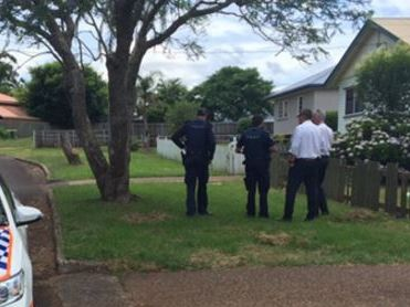 Police at the scene of a shooting in Harlaxton, Toowoomba.