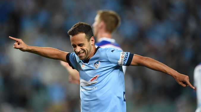 Sydney FC striker Alex Brosque scores last week. Photo: AAP Image
