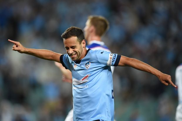 Sydney FC striker Alex Brosque scores last week. Photo: AAP Image