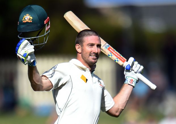 Shaun Marsh celebrates his ton.