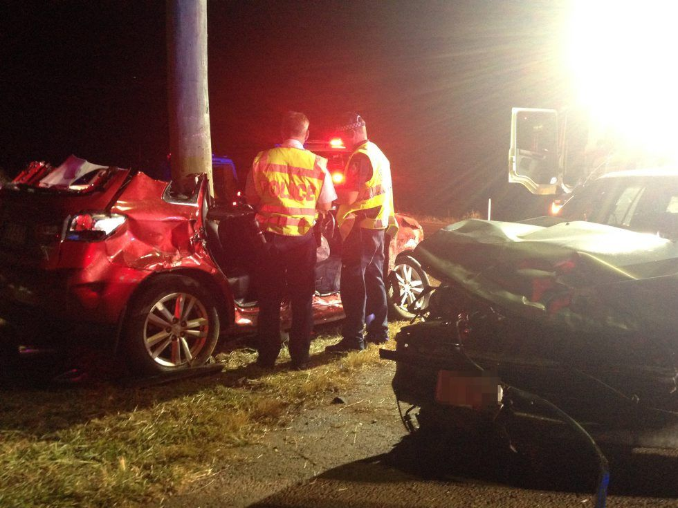 Police at the scene of a two-car smash at the intersection of Windermere and Hummock Rds. Photo Crystal Jones / NewsMail