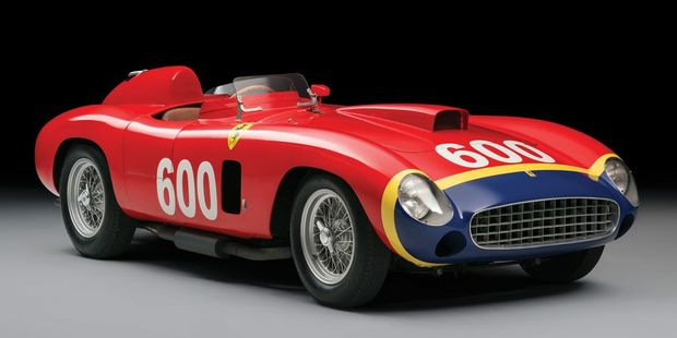 LEGENDARY: 1956 Ferrari 290 MM driven by Juan Manuel Fangio in the 1956 Mille Miglia road race is expected to sell for around $US30 million ($A41 million) when it goes under the hammer in New York this weekend