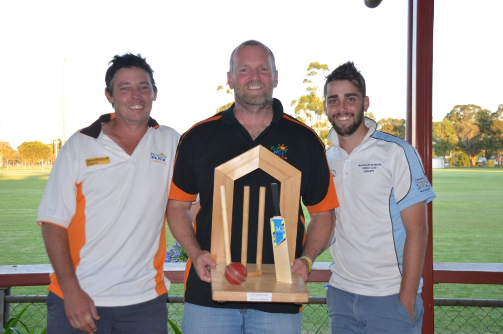 RSL Services' Wayne Kelly, Darrin Geiger and Warriors' Kieran Askin with the Lynda Geiger Trophy.